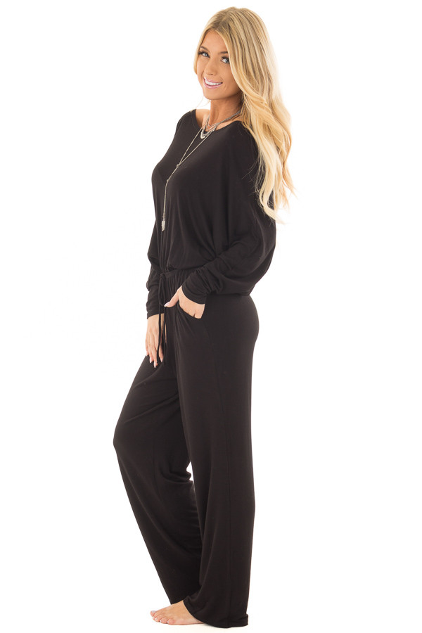 Black Off the Shoulder Jumpsuit with Waist Tie side full body