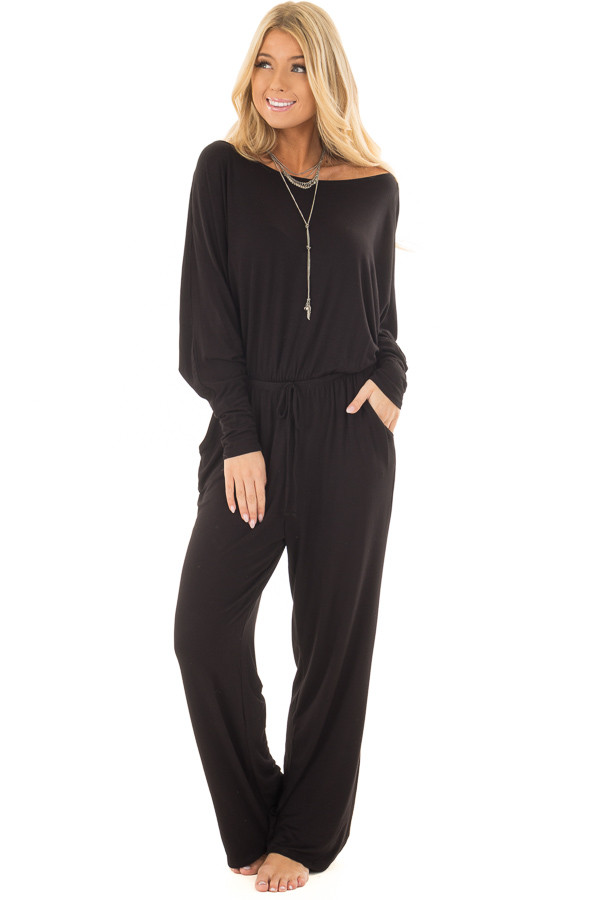 Black Off the Shoulder Jumpsuit with Waist Tie front full body