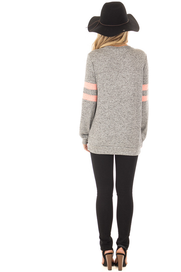 Heather Grey Top with Neon Pink Stripe Detail back full body