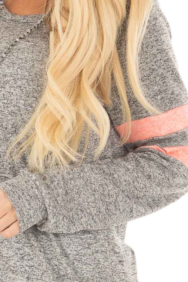 Heather Grey Top with Neon Pink Stripe Detail front detail