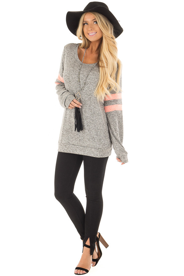 Heather Grey Top with Neon Pink Stripe Detail front full body