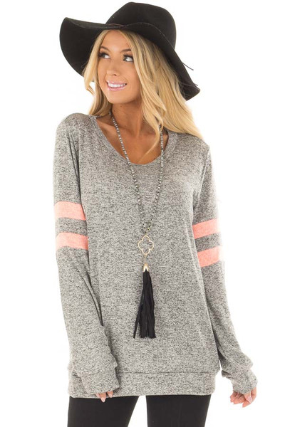 Heather Grey Top with Neon Pink Stripe Detail front closeup