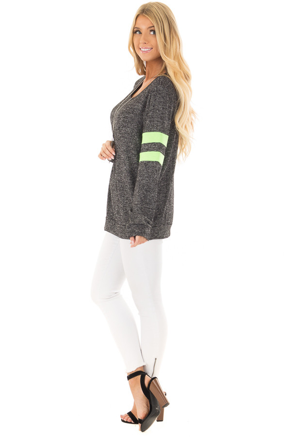 Charcoal Top with Neon Green Stripe Detail side full body