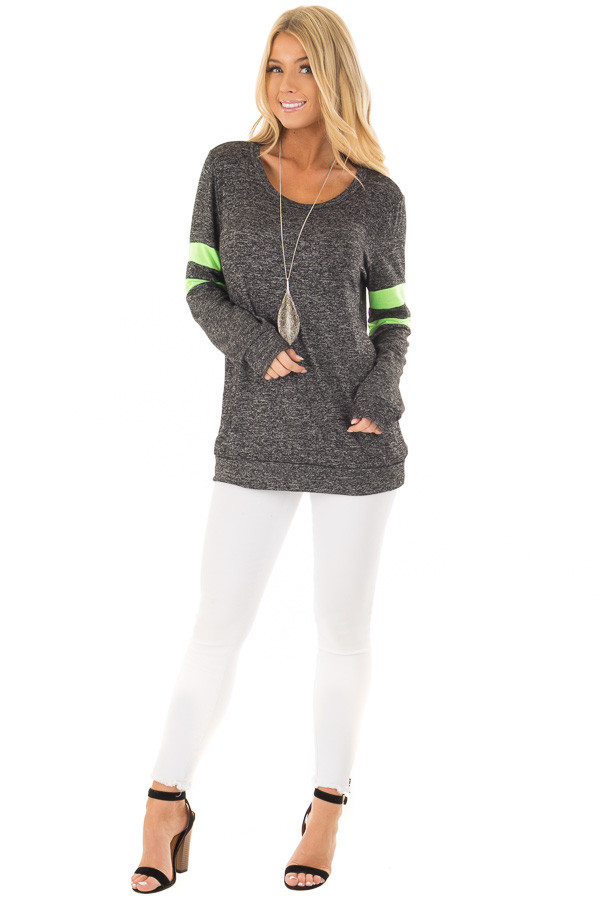 Charcoal Top with Neon Green Stripe Detail front full body