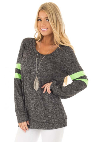 Charcoal Top with Neon Green Stripe Detail front closeup