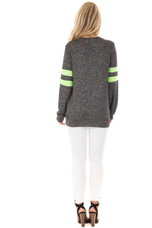 Charcoal Top with Neon Green Stripe Detail back full body