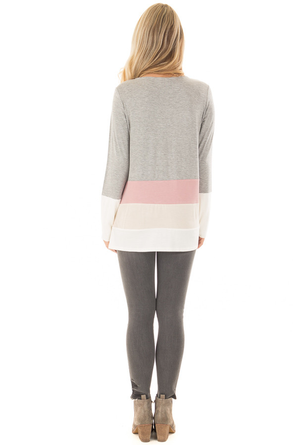 Heather Grey Color Block Top back full body