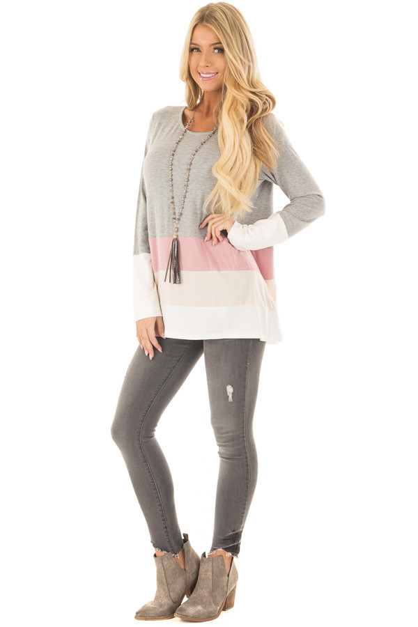 Heather Grey Color Block Top front full body