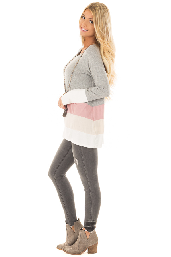 Heather Grey Color Block Top side full body