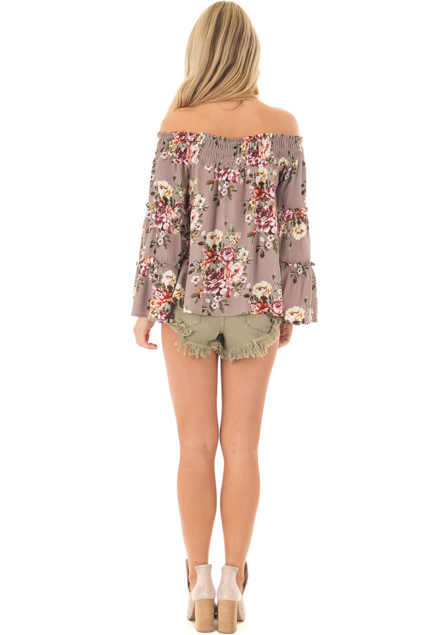 Mocha Floral Print Off the Shoulder Top with Bell Sleeves back full body