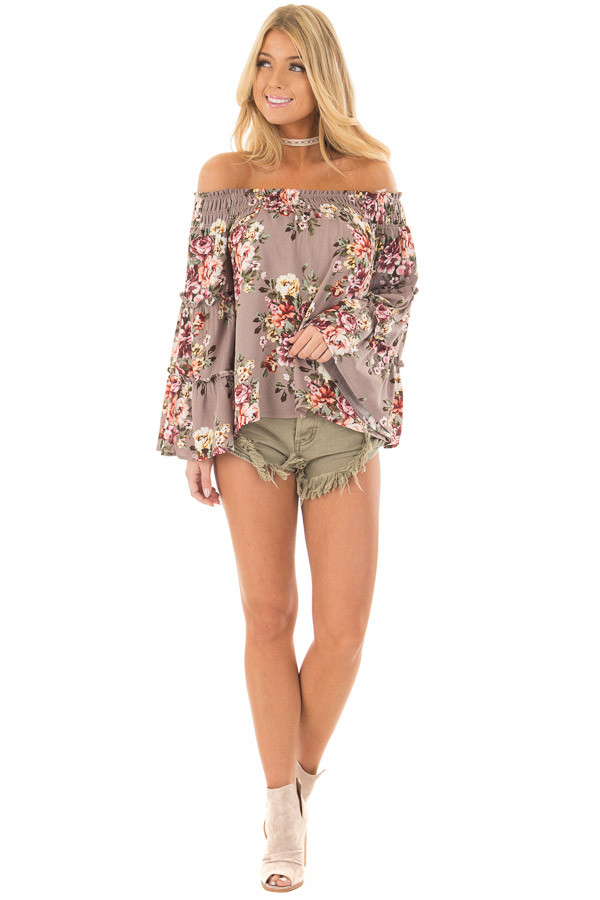 Mocha Floral Print Off the Shoulder Top with Bell Sleeves front full body