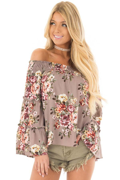 Mocha Floral Print Off the Shoulder Top with Bell Sleeves front close up