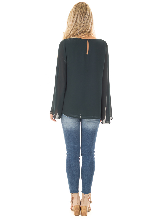 Forest Green Cape Sleeve Chiffon Top back full body