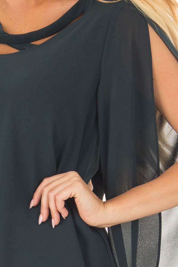 Forest Green Cape Sleeve Chiffon Top detail