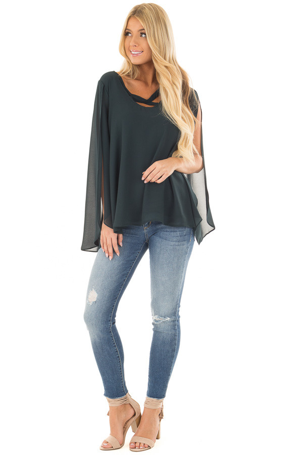 Forest Green Cape Sleeve Chiffon Top front full body