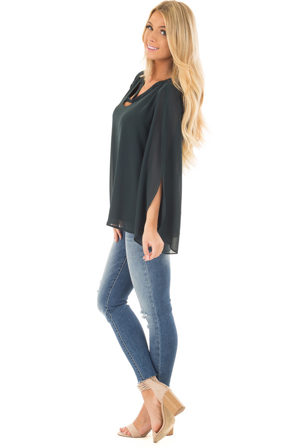 Forest Green Cape Sleeve Chiffon Top side full body