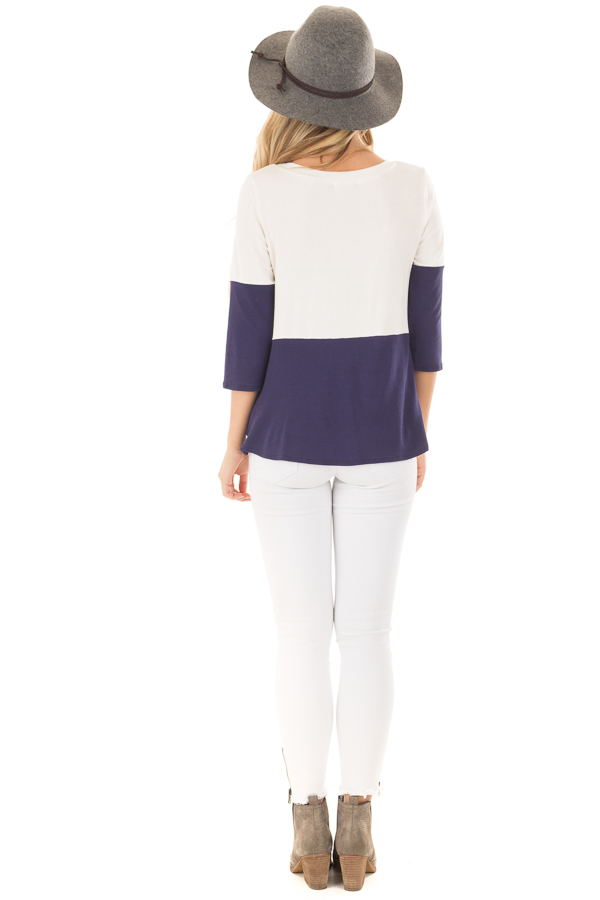 Navy and Ivory Color Block Top with Front Twist Detail back full body