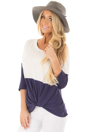 Navy and Ivory Color Block Top with Front Twist Detail front close up