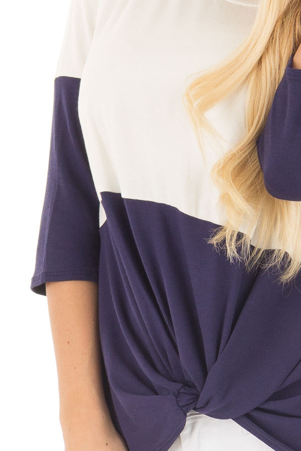 Navy and Ivory Color Block Top with Front Twist Detail detail