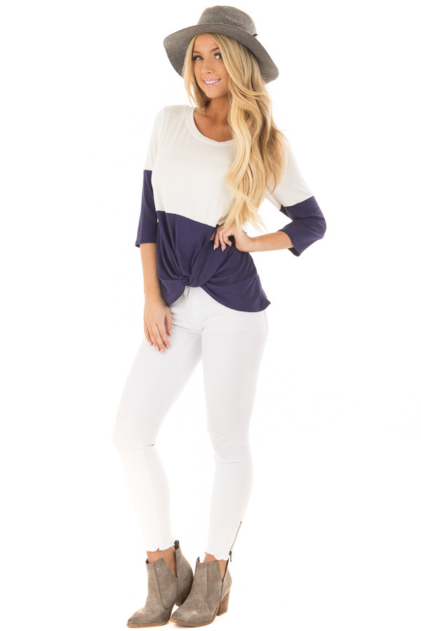 Navy and Ivory Color Block Top with Front Twist Detail front full body