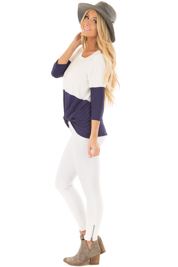 Navy and Ivory Color Block Top with Front Twist Detail side full body