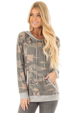 Olive Camo Print Hoodie with Grey Contrast front close up