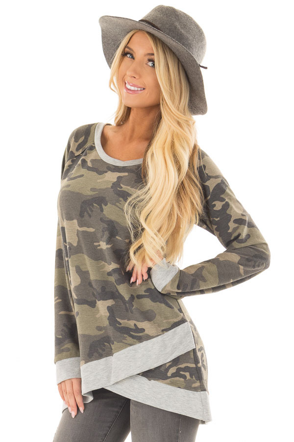 Dark Olive Camo Print Top with Crossover Hemline front close up