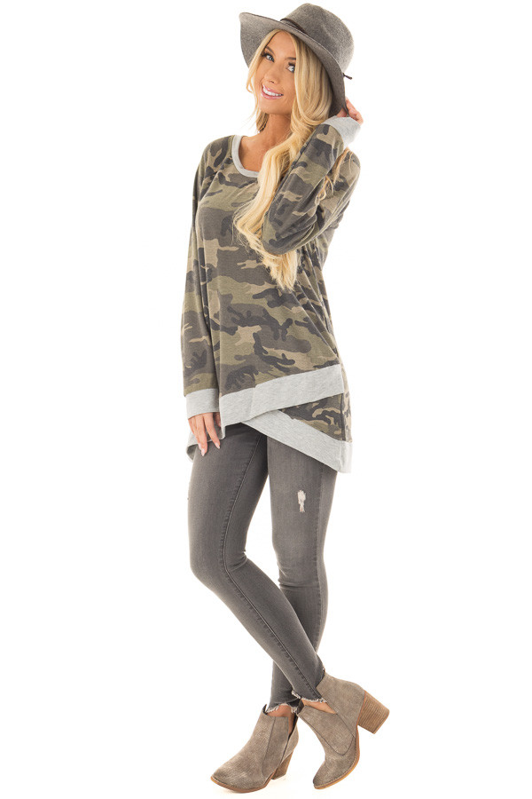 Dark Olive Camo Print Top with Crossover Hemline front full body