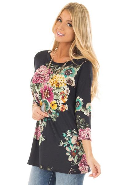 Black Floral Print Top front close up