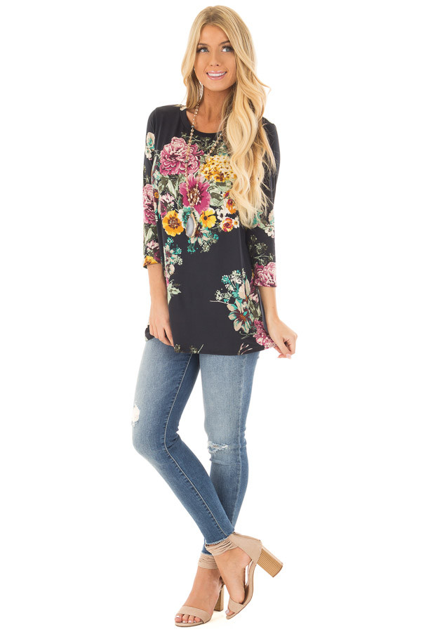 Black Floral Print Top front full body