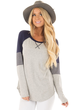 Heather Grey Long Sleeve Top with Navy Contrast front close up