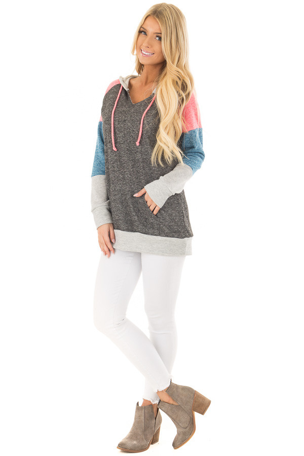 Charcoal Color Block Hoodie with Kangaroo Pocket front full body