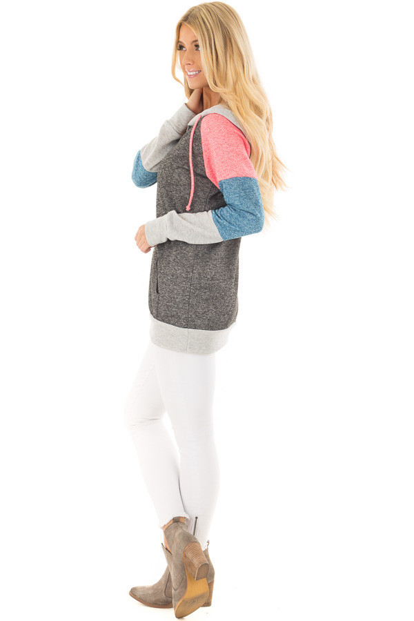 Charcoal Color Block Hoodie with Kangaroo Pocket side full body