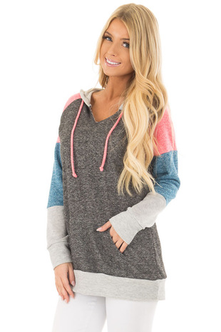 Charcoal Color Block Hoodie with Kangaroo Pocket front close up