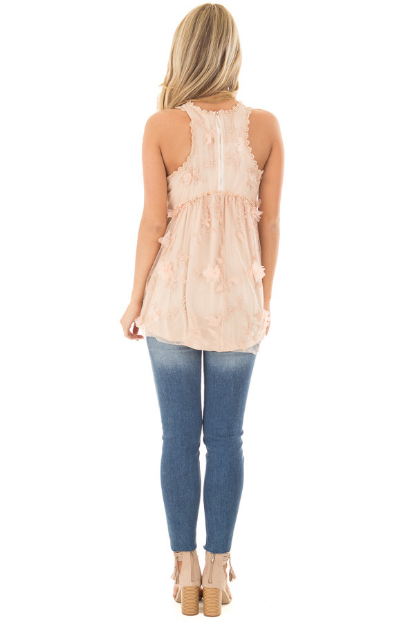 Peach 3D Floral Print Sheer Lace Top back full body