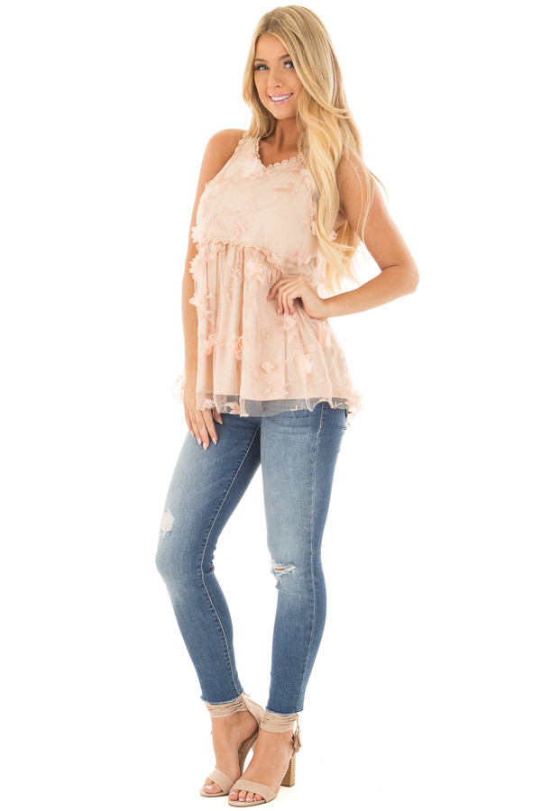 Peach 3D Floral Print Sheer Lace Top front full body