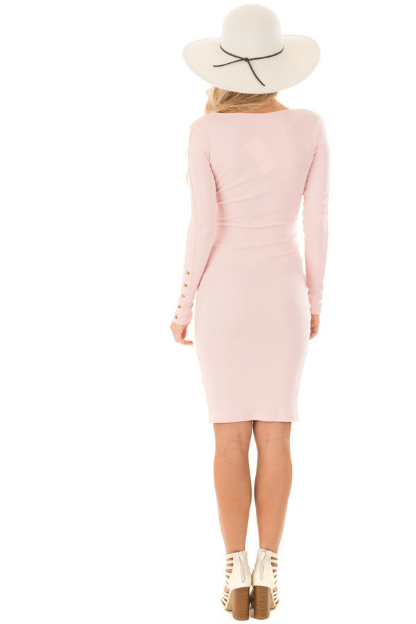Blush Ribbed Knit Bodycon Dress with Gold Details back full body