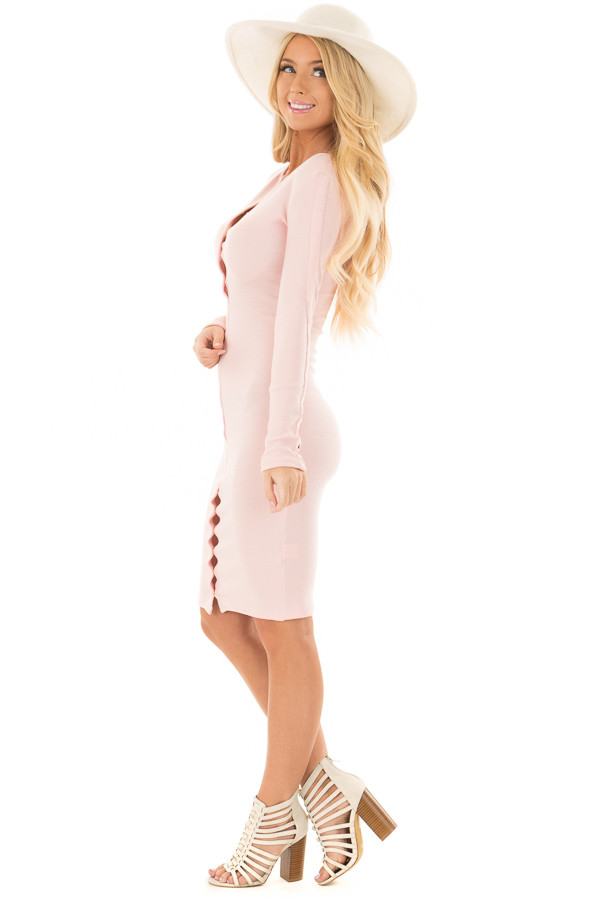 Blush Ribbed Knit Bodycon Dress with Gold Details side full body