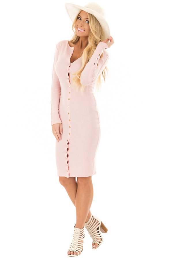 Blush Ribbed Knit Bodycon Dress with Gold Details front full body