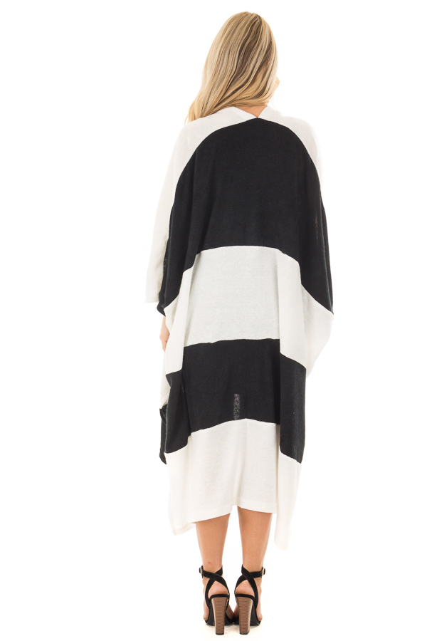 Black and White Striped Long Cardigan back full body