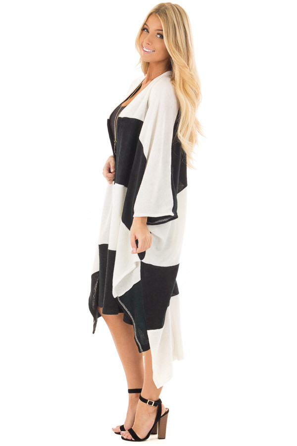 Black and White Striped Long Cardigan side full body