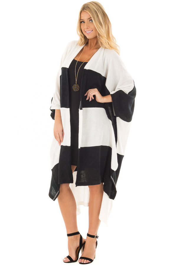 Black and White Striped Long Cardigan front full body