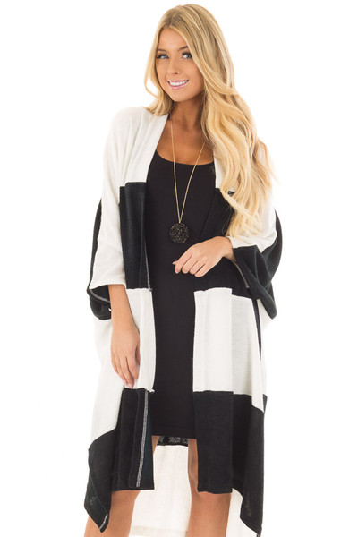 Black and White Striped Long Cardigan front close up