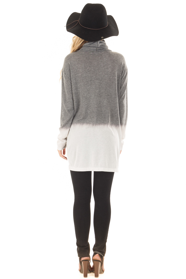 Cement and Ivory Dip Dye Top with Cowl Neck back full body