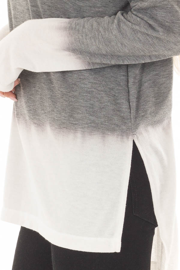 Cement and Ivory Dip Dye Top with Cowl Neck detail