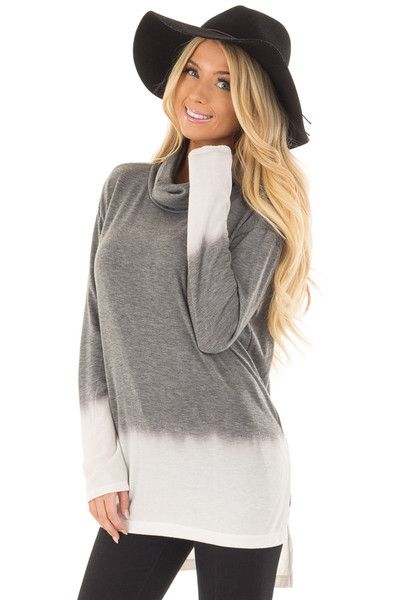 Cement and Ivory Dip Dye Top with Cowl Neck front close up