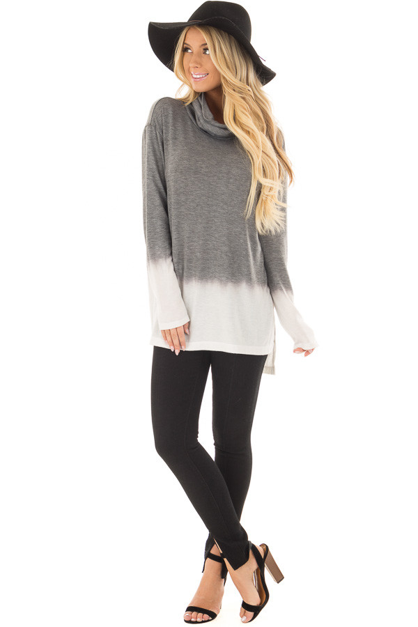Cement and Ivory Dip Dye Top with Cowl Neck front full body