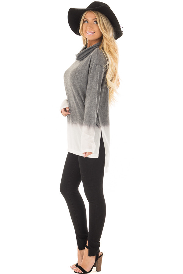Cement and Ivory Dip Dye Top with Cowl Neck side full body