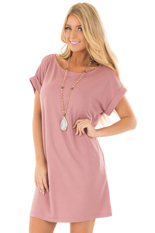 Mauve Short Sleeve Dress with Side Pockets front close up