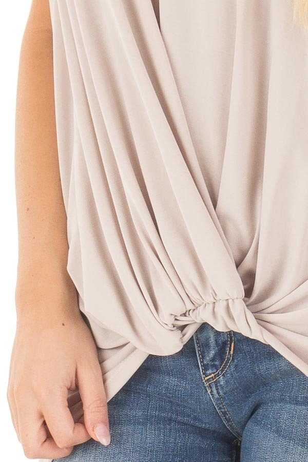 Taupe Short Sleeve Hi Low Top with Twist Front Detail detail
